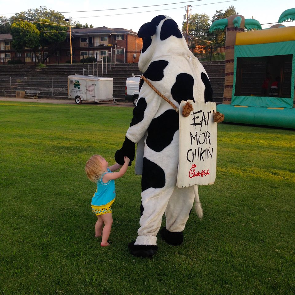 Dwarf House Cow visits during Movie Night with Hapeville Residents