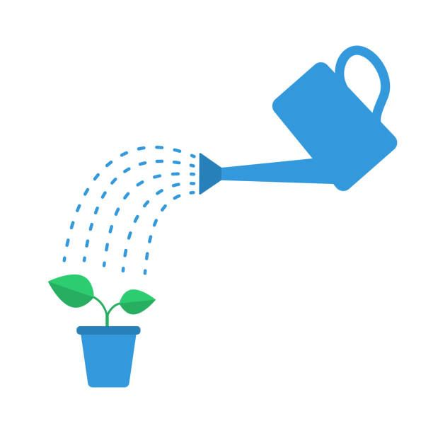 Clip art of potted plant being watered
