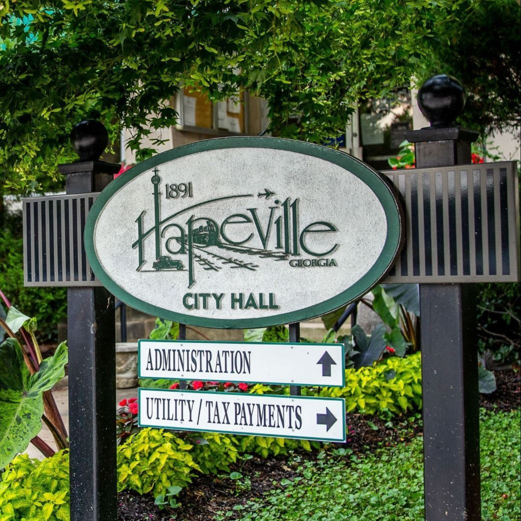 Old Hapeville sign outside City Hall