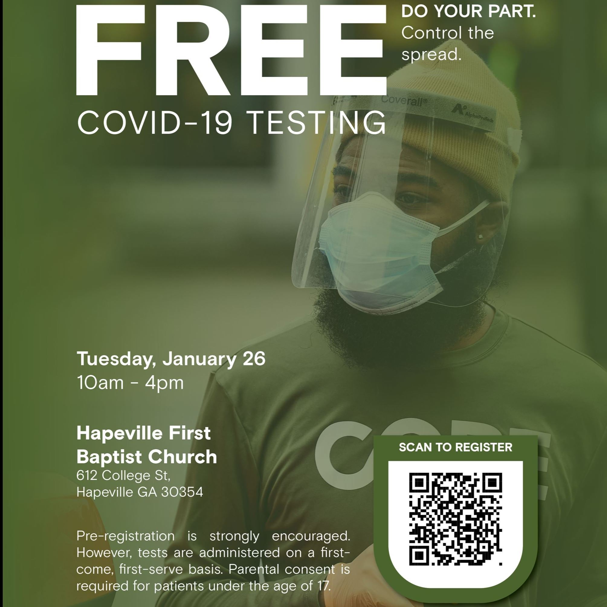 Flyer advertising FREE COVID-testing
